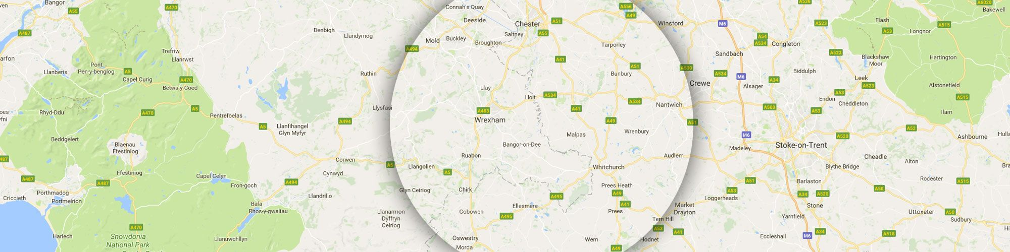 Map of Wrexham & Chester where Grow Sales + Lettings Estate Agents operate