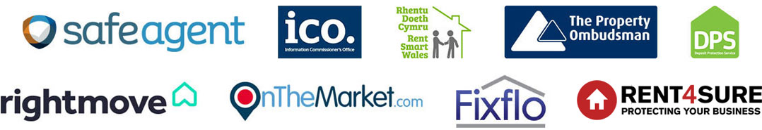 Safe Agent, ICO, Rent Smart Wales, The Property Ombudsman, DPS, Rightmove, On The Market, Fixflo, Arla Propertymark Protected